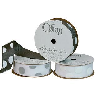 "Offray 7/8""x9' Random Puff Dots Grosgrain Ribbon"