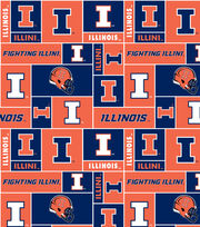 University of Illinois NCAA Block Fleece Fabric, , hi-res