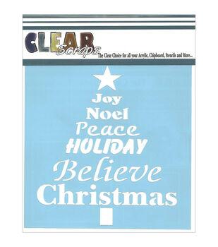 "Clear Scraps Stencils 6""X6""-Word Christmas Tree"