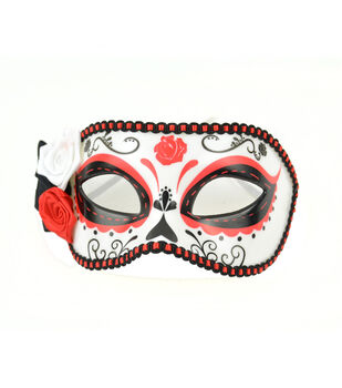 Maker's Halloween Day of the Dead Mask With Flowers-Red & Black