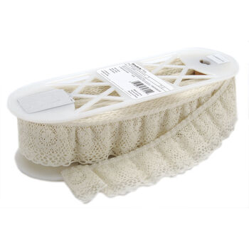 """Ruffled Lace 2"""" Wide 12 Yards-Natural"""