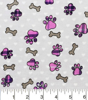 Snuggle Flannel Fabric-Pink Plaid Paw Prints And Bones