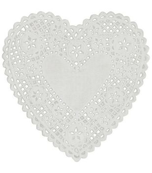 Royal Lace Paper Doilies White Hearts-6 Inch 18/Pkg