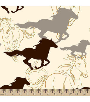 Blizzard Fleece Fabric-Horses Running Sketch Cream