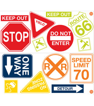 Wall Pops Road Signs Wall Art Decal Kit , 22 Piece Set