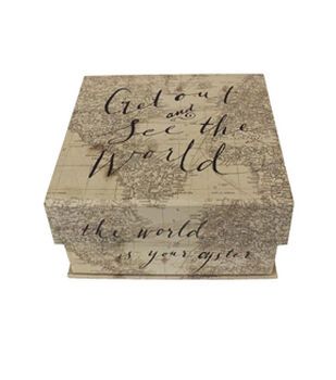 "Small Square Tab Box-""Get Out and See the World"""