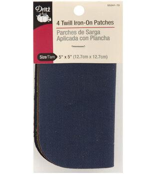 "Dritz Iron-On Twill Patches 5""X5"" 4/Pkg-Assorted Darks"