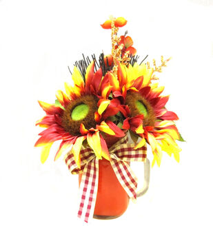 Blooming Autumn Glass Sunflower Arrangement-Red