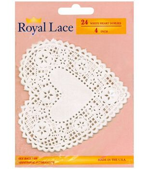 Royal Lace Paper Doilies White Hearts-4 Inch 24/Pkg