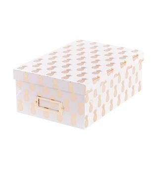 DCWV White Photo Box Gold Pineapples