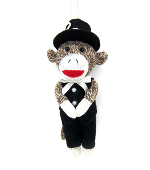 Maker's Holiday Sock Monkey Groom Ornament