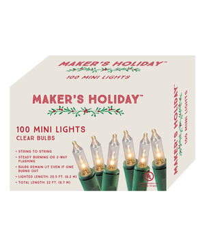 Maker's Holiday 100 Bulb String Lights-Clear
