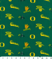 University of Oregon NCAA Green   Cotton Fabric, , hi-res