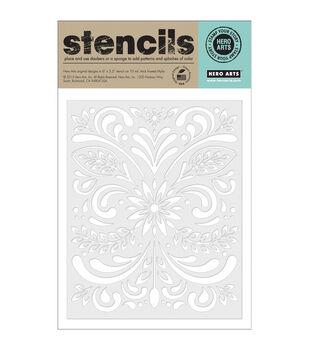 "Hero Arts Stencils 6.25""X5.25""-Leaf & Flourish"