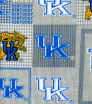 University of Kentucky NCAA Heather Gray Block Fleece Fabric, , hi-res