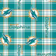 Miami Dolphins NFL Plaid Fleece Fabric by Fabric Traditions, , hi-res