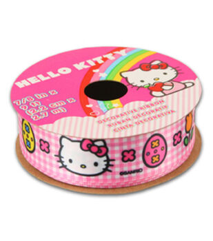Hello Kitty Easter Ribbon-Pink White Plaid