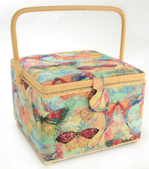 Dritz Sewing Basket Large Square-Buttterfly