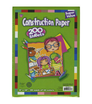 "Construction Paper Pad 9""X12"" 200/Pkg-Assorted Colors"