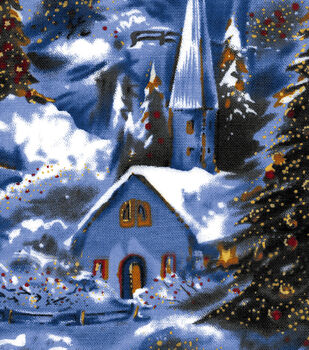 Holiday Inspirations Fabric-Winter Village Scenic Glitter