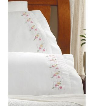 """Bucilla Pillowcase Pair Stamped Embroidery 20""""X30""""-Pretty Posies"""