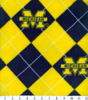 University of Michigan NCAA Argyle Fleece Fabric, , hi-res