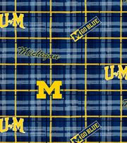 University of Michigan NCAA Plaid Cotton Fabric, , hi-res