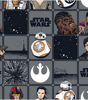 Star Wars VII Heroes In Squares Cotton Fabric