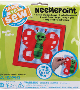 """Colorbok Butterfly Learn To Sew Needlepoint Kit-6""""X6"""" Red Frame"""