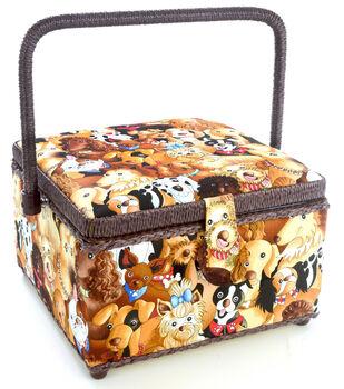 Dritz Sewing Basket Medium Square-Dog