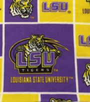 Louisiana State University NCAA  Fleece Fabric, , hi-res
