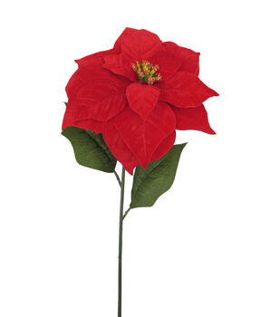 Blooming Holiday 28'' Poinsettia Stem-Red