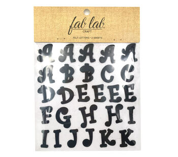 """1"""" Felt Letters - Curlz Font - Black - 54pcs - Stick-On"""