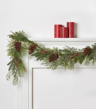 Blooming Holiday 66'' Berry & Pinecone Frosted Garland-Red