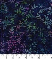 Batik Cotton Fabric - Leafy Vine Purple, , hi-res