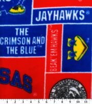 University of Kansas NCAA Block Fleece Fabric, , hi-res