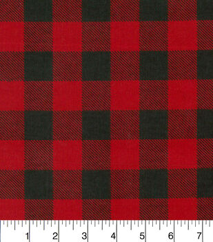 Snuggle Flannel Fabric-Red Black Buffalo Check