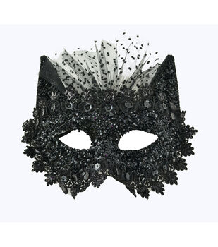 Maker's Halloween Sparkle Cat Mask With Tulle-Black