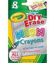 Crayola Dry Erase Neon Crayons 8/Pkg-, , hi-res