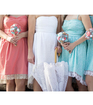 Country Chic Bridesmaid's Dresses and Bride's Dress