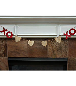 XOXO Wood Heart Garland
