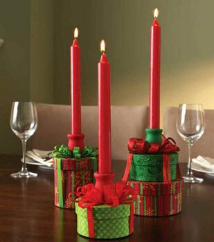 Fabric-Covered Box Candleholders