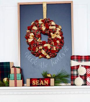 Ribbon Wreath on Chalkboard