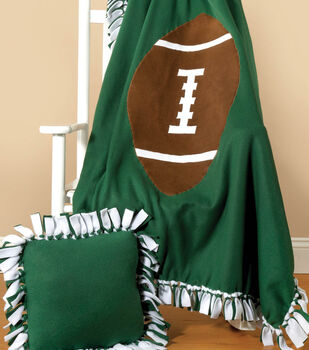 Football Applique No-Sew Fleece Blanket