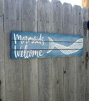Mermaids Welcome Poolside Sign