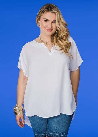 Hi-Lo Blouse with Drop Shoulders White - Tops