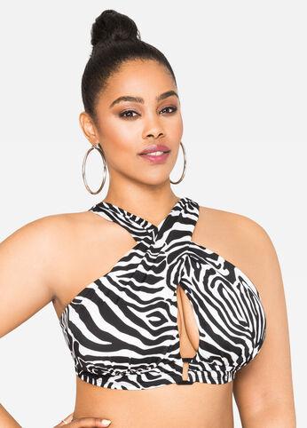 Zebra Print Bikini Top