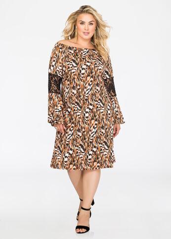 Printed Lace Inset Off-Shoulder Dress