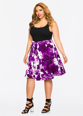 Textured Watercolor Flippy Skirt Purple Magic - Bottoms