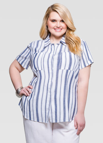 Striped Linen Camp Shirt